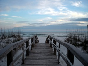 The view walking onto Pensacola Beach.  The beach was ranked 22nd in the 2013 Trip Advisor Traveler's Choice Poll. Photo R. Anderson