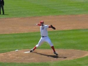 With all of the money they are paying Stephen Strasburg the Washington Nationals can ill afford to lose him to an injury. Strasburg's injury risk, like that of other National League pitchers is increased by the fact that he has to bat as well as pitch. Photo R. Anderson