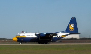 Like the F-18 Hornets, Fat Albert, the Blue Angels' logistics plane is also grounded due to budget cuts. Photo R. Anderson