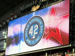 Each year on April 15 Major League Baseball teams stop to remember Jackie Robinson. Photo R. Anderson