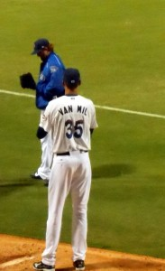 "At 7'1"", Ludovicus Jacobus Maria Van Mil of the Blue Wahoos is the tallest pitcher in baseball. Photo R. Anderson"