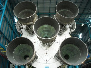 A head on view of the Saturn V engines that helped the Apollo astronauts reach the moon. Photo R. Anderson