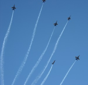 The Blue Angels perform during the Wings Over Houston Airshow. Photo R. Anderson