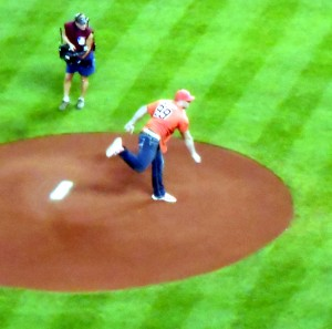 J.J. Watt of the Houston Texans threw out the first pitch of the Astros' tenure as an American League franchise. Photo R. Anderson