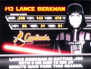 Lance Berkman gets the visiting villian treatment during a past Star Wars Night at Minute Maid Park. Photo R. Anderson
