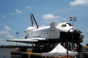 "The Space Shuttle full size mockup Explorer arrives in Houston for its ""retirement."" Photo R. Anderson"