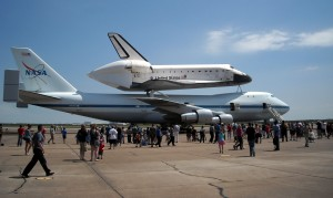 Space Shuttle Endeavour atop the Shuttle carrying aircraft at Ellington Field Houston on its way to retirement in California. Photo R. Anderson