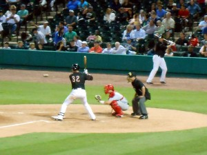 Former Boston Red Sox player Aaron Bates up to bat for the Sugar Land Skeeters. Photo R. Anderson