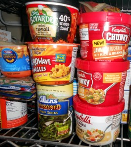 Non perishable food like the items pictured are crucial to have after a hurricane hits. Photo R. Anderson