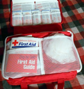 The American Red Cross recommends a first aid kit for both home and car ahead of the arrival of a hurricane. Photo R. Anderson