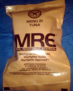 When faced with no power after a storm a supply of MRE rations can come in handy. Photo R. Anderson