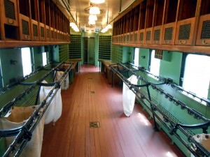 The interior of a mail car at the Galveston Railroad Museum. Photo R. Anderson