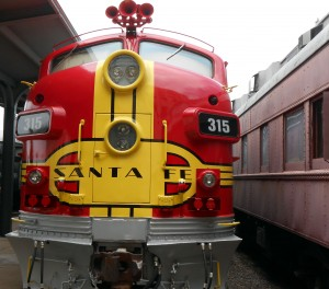 One of the newest exhibitis at the Galveston Railroad Museum is a pair of locomotives painted in the colors of Santa Fe rail lines. Photo R. Anderson