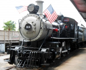 One of the steam powered locomotives on display at the Galveston Railroad Museum. Exhibits cover all eras of train travel. Photo R. Anderson