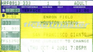 Every journey starts with a single step, or in some cases a single ticket. On October 4, 2001 I saw my first game at Minute Maid Park which was known as Enron Field at the time. By the end of this season I will have seen all 30 Major League teams at least once at the Ballpark. Photo R. Anderson