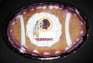 Instead of tasting sweet like victory, this Washington Redskins chocolate chip cookie cake tasted bitter after a lackluster effort by the Redskins in Monday Night Football. But that is not what we are here to talk about. Photo R. Anderson