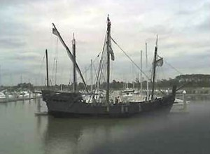 A replica of the Nina as seen in the Houston Ship Channel a few years back. The ship travels to posts in the western hemisphere as a floating museum and is a must see for anyone who gets the chance. Photo R. Anderson