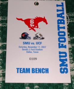 When UCF and SMU met at Gerald Ford Stadium in Dallas in 2007 the Knights went on to win the Conference USA title. This year the Knights will earn a automatic BCS bowl berth with a victory over the Mustangs.  Photo R. Anderson