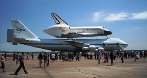 The Shuttle Carrier Aircraft pictured with Space Shuttle Endeavour on it will be moved to the front of Space Center Houston and will join the Shuttle mockup in a ferry flight configuration in 2015. Photo R. Anderson