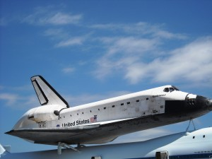 Space Shuttle Endeavour is on display in California. Many people in Houston feel that a real Space Shuttle should have been given to Houston. One hopes that is Houston had been given a real Shuttle they would have treated it better than the mockup they were given. Photo R. Anderson