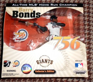 Barry Bonds, shown in plastic figurine form, was once again passed over for the Hall of Fame along with several other platers were were believed to have used banned substances. Although known of the players were shown to be dirty some voting memebers of the BWAA refuse to vote for anyone who played during the so called steroid era regardless of what was or was not proven against them. Photo R. Anderson