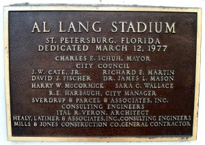 Al Lang Stadium in St. Petersburg, FL is named after the former mayor who helped make Florida a Spring Training destination for over 100 years. Photo R. Anderson.