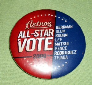 All Star Games often have all the pomp and circumstance of a political campaign including campaign buttons. Photo R. Anderson