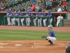 "The Sugar Land Skeeters gave Koby Clemens a chance to ""have a catch"" with his dad Roger Clemens during the Rocket's last professional game. Photo R. Anderson"