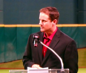 Roy Oswalt joined Lance Berkman in retiring as members of the Houston Astros Saturday night. Photo R. Anderson