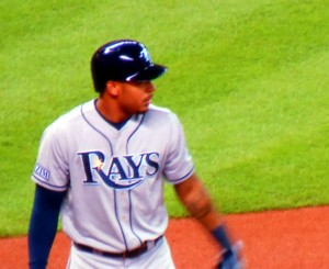 After the death of Don Zimmer, Desmond Jennings and the rest of the Tampa Bay Rays are playing with heavy hearts and patches honoring Zim. Photo R. Anderson
