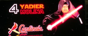 Even the players on the Jumbotron get a Star Wars treatment as was the case when the St. Louis Cardinals visited Minute Maid Park a few years back. Photo R. Anderson
