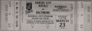 Ticket stubs like this one from a Spring Training game at Baseball City Stadium, and memories are all that are left from the three Ballparks from my youth that have been torn down. Photo R. Anderson
