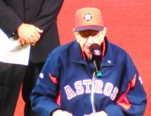 After retiring from the broadcast booth in 2012, Milo Hamilton served as the master of ceremonies for the 2013 Opening Day that marked the American League debut of the Houston Astros. Photo R. Anderson