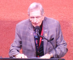 One of Milo Hamilton's final appearances at Minute Maid Park occurred om April 18, 2015 when he honored the 50th Anniversary of the Astros partnering with NASA. Photo R. Anderson
